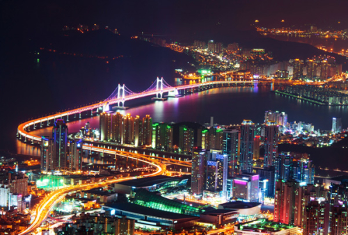 GwangAn Bridge and Haeundae at night in Busan, Korea